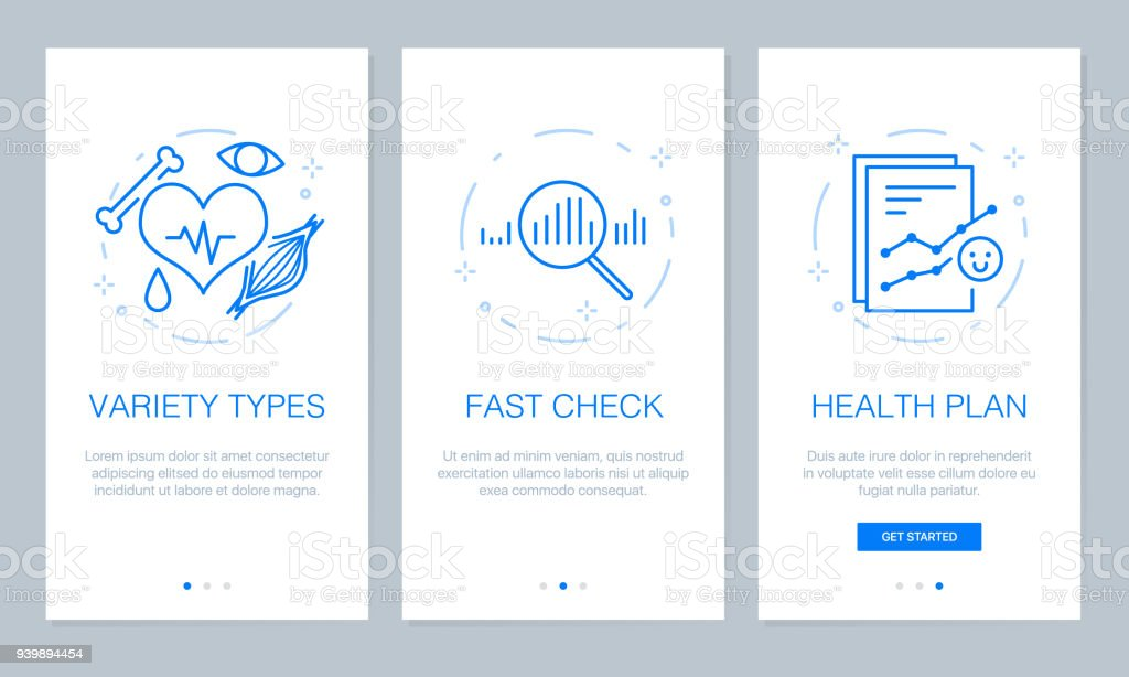 Health And Medical Concept Onboarding App Screens Modern And ...