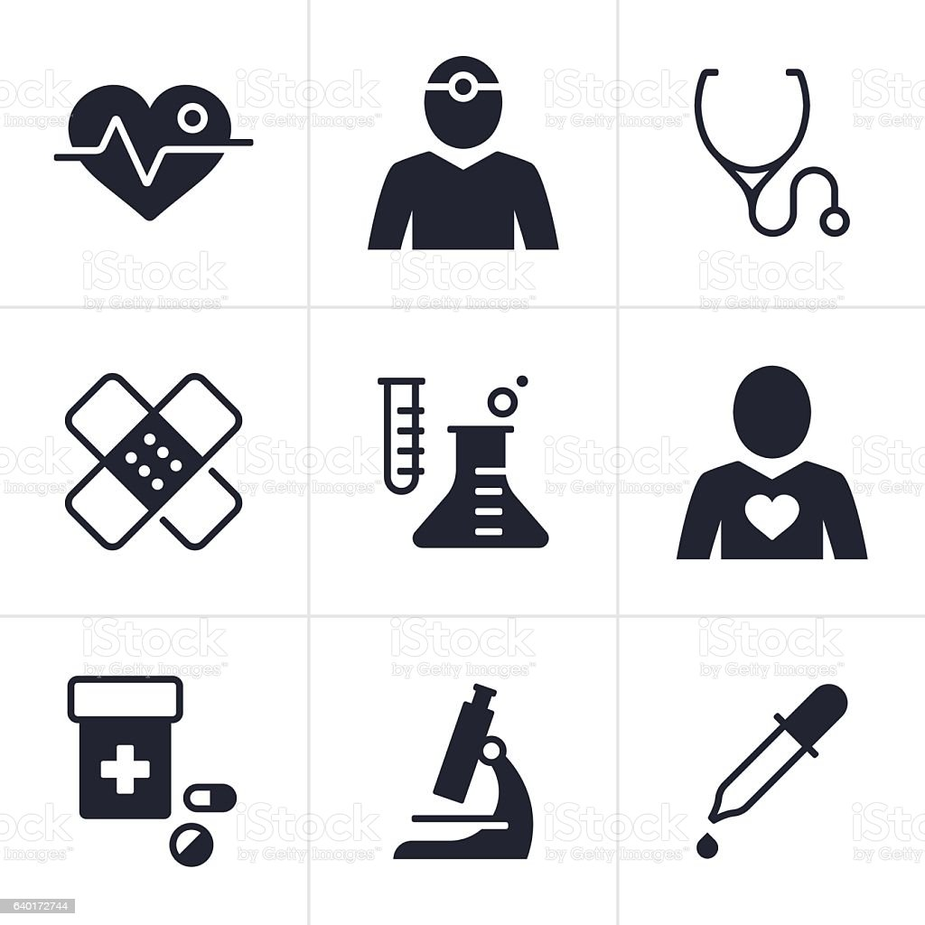 Health and Medical Symbols vector art illustration
