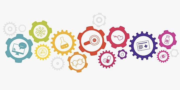 健康/医学のコンセプト - 医学研究点のイラスト素材/クリップアート素材/マンガ素材/アイコン素材