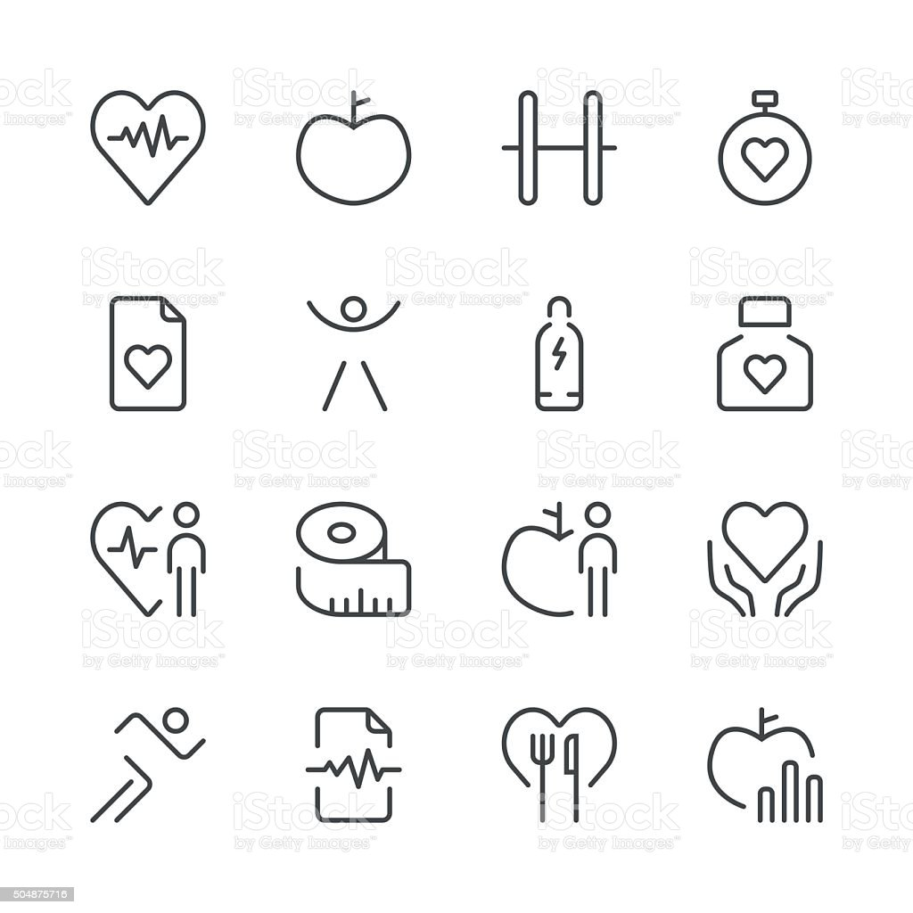Health and Nutrition Icons set 1 | Black Line series vector art illustration