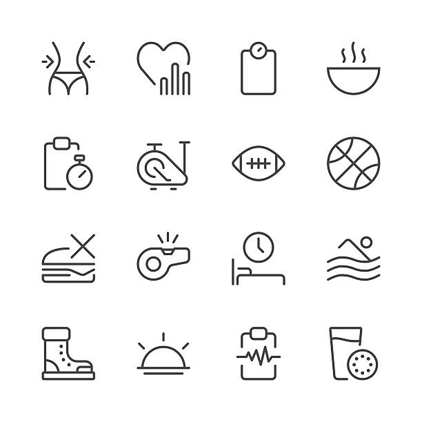 Health and Nutrition Icons set 2   Black Line series vector art illustration