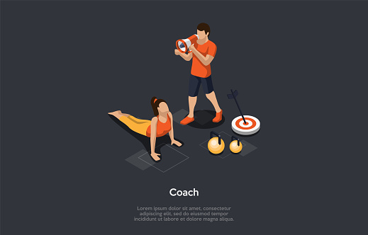 Health And Popular Sport Activities Concept. Girl Exercising Doing Push-Ups Under The Fitness Coach Watching. Dumbbells And Target With An Arrow On Grey Background. 3d Isometric Vector Illustration