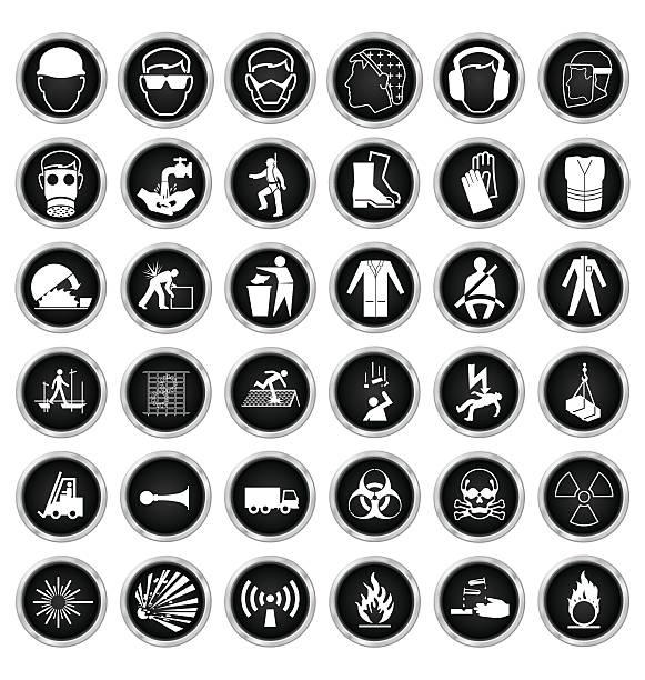 ilustraciones, imágenes clip art, dibujos animados e iconos de stock de la salud y la seguridad y la colección de iconos de riesgos - equipo de seguridad