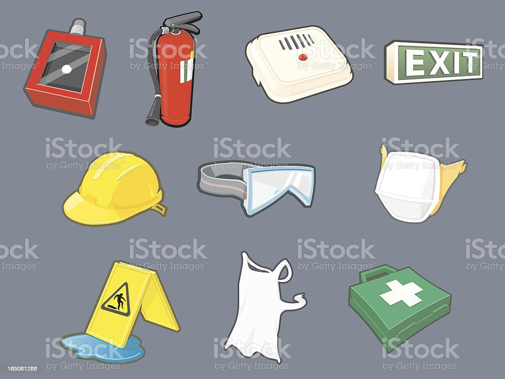 Health and Safety Icons vector art illustration