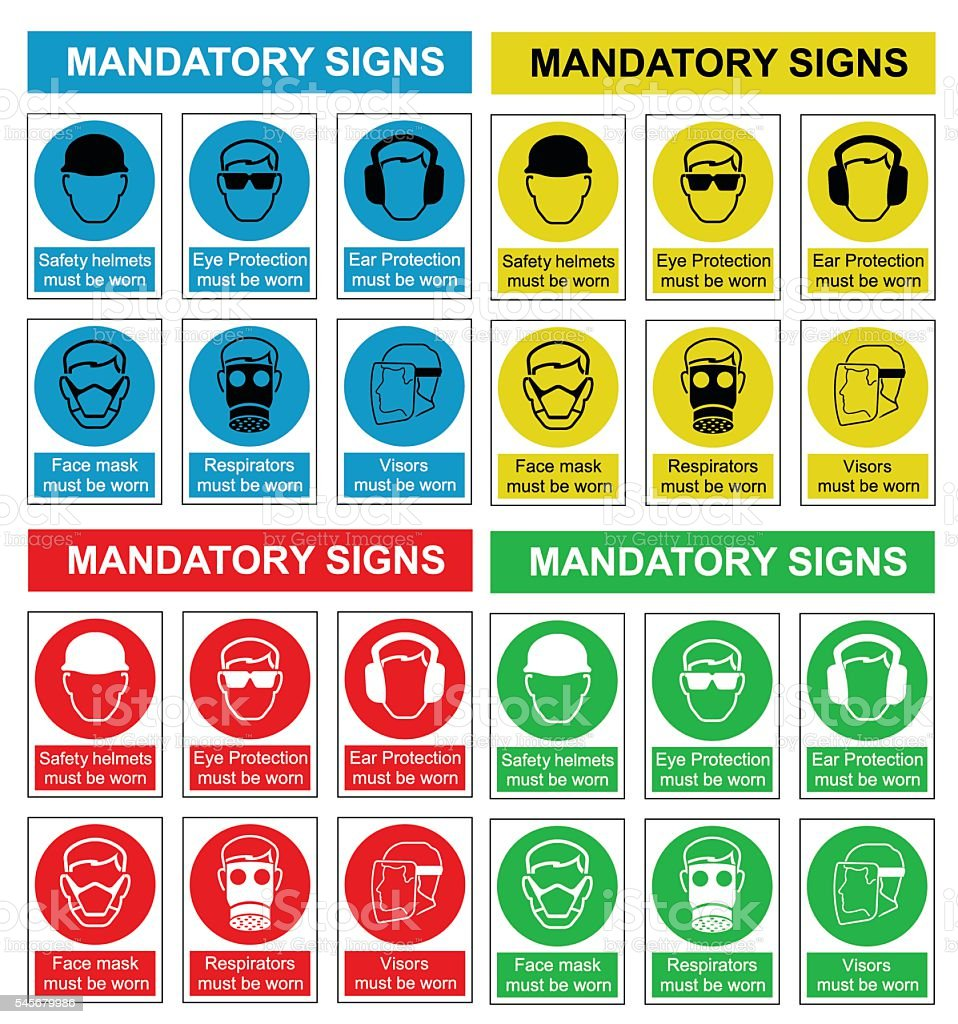 Health and safety sign collection vector art illustration
