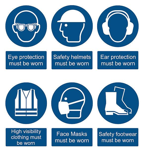 gesundheit und sicherheit der beschilderung - schutzbrille stock-grafiken, -clipart, -cartoons und -symbole