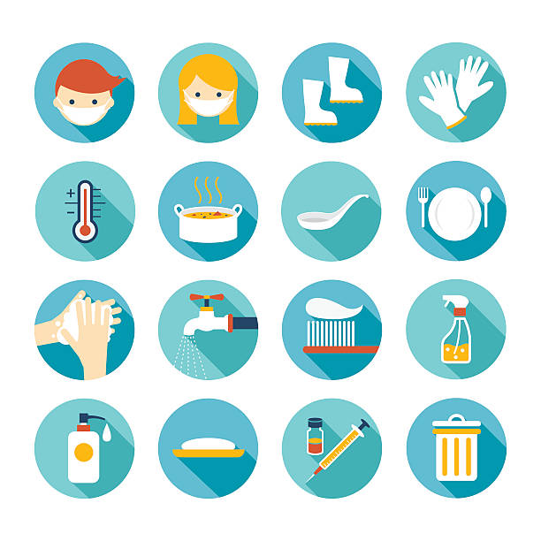 Health and Sanitation Flat Icons Set Cleanness, Contagious Disease Prevention and Secure pneumonia stock illustrations