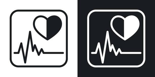Health App-Symbol für Smartphone, Tablet, Laptop oder ein anderes intelligentes Gerät mit mobiler Schnittstelle. Minimalistische zweifarbige Version auf schwarz-weißem Hintergrund – Vektorgrafik
