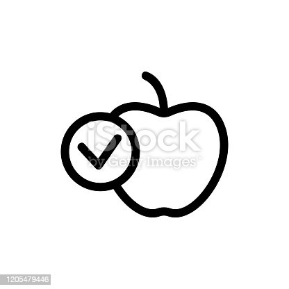 istock Health apple icon vector. Isolated contour symbol illustration 1205479446