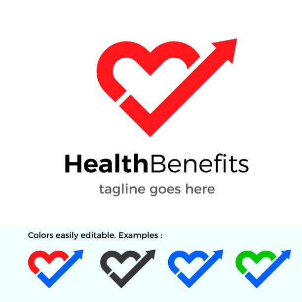 health benefits logo. good health vector design concept - wellness stock illustrations