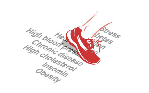 Health benefits of exercise Vector image of a sport shoe stepping over various health conditions chronic illness stock illustrations