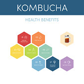 8 health benefits of kombucha tea, vector infographic