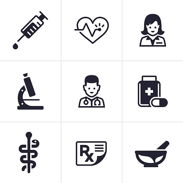 ilustraciones, imágenes clip art, dibujos animados e iconos de stock de health care and medical icons - pediatra