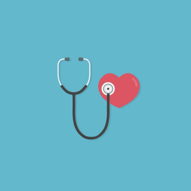 건강 관리 그리고 의학 개념입니다. 레드 심장 청진 기의 플랫 디자인입니다. 폐와 심장의 질병의 진단을 위한 의료 도구 - 청진기 stock illustrations