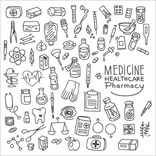 illustrazioni stock, clip art, cartoni animati e icone di tendenza di health care and medicine doodle icon set - contraccettivo