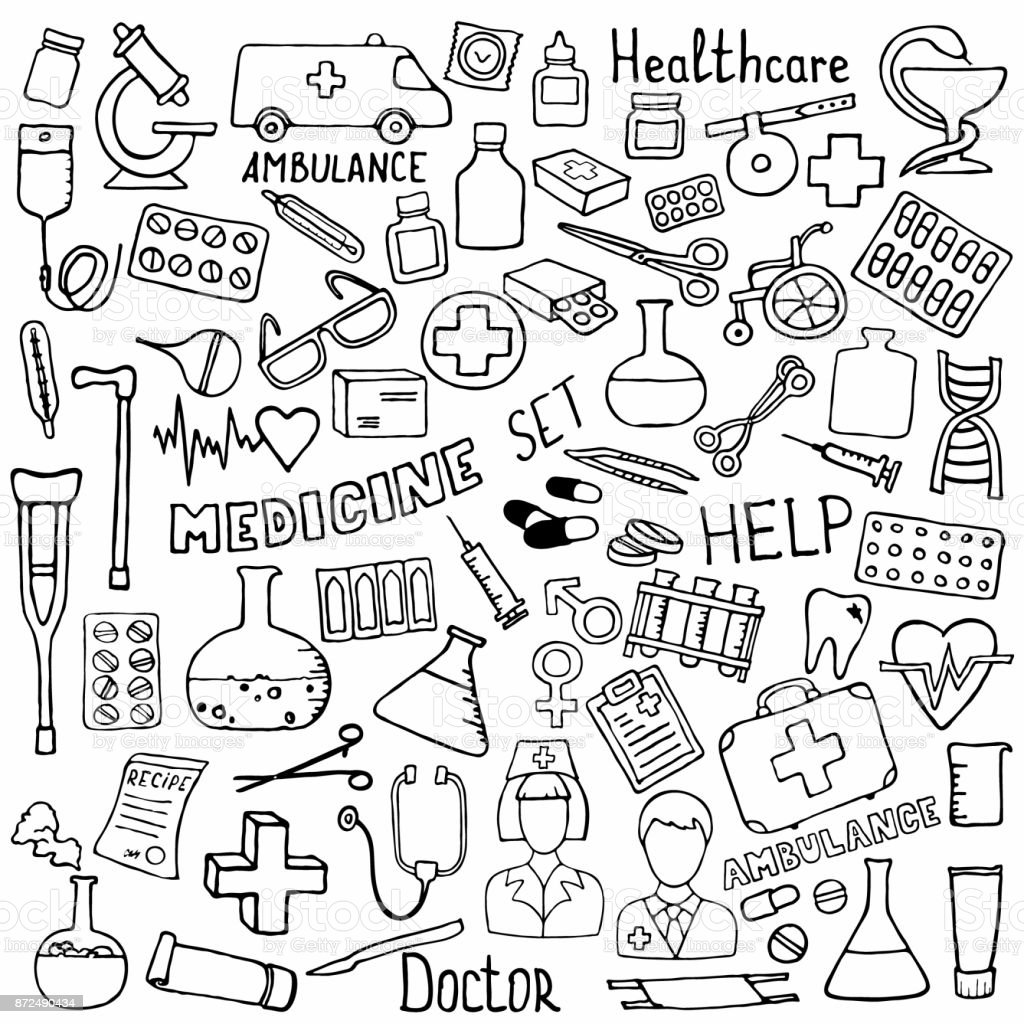Health care and medicine icon set. Vector doodle illustrations. vector art illustration