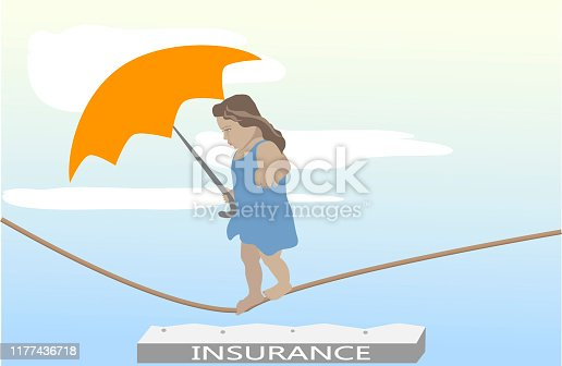 Health care assurance, family and children life insurance medical healthcare business concept with happy kid holding umbrella.