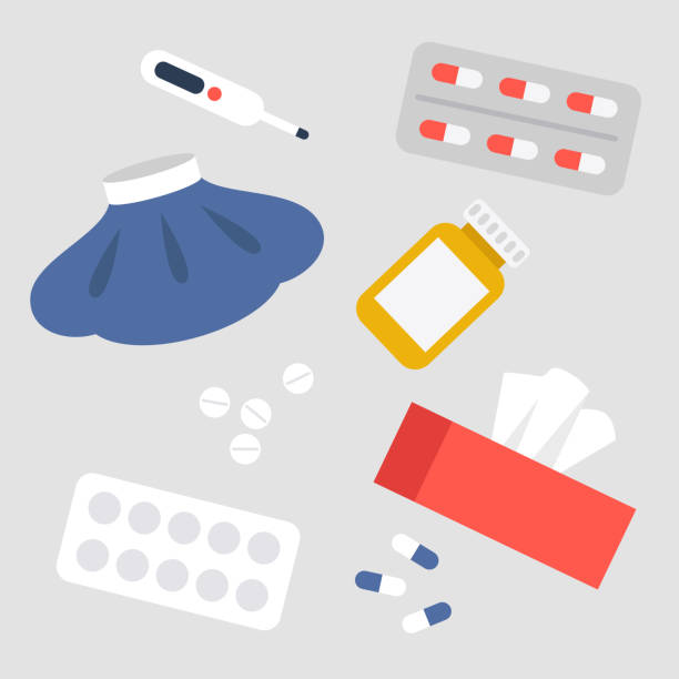 Health care concept. A medical set: ice pack, pills, thermometer, tissue box. Vector flat illustration, clip art Health care concept. A medical set: ice pack, pills, thermometer, tissue box. Vector flat illustration, clip art aspirin stock illustrations