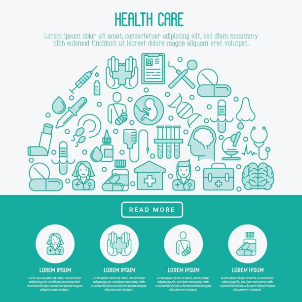 Health care concept with thin line icons related to hospital, clinic, laboratory. Vector illustration for conclusion, banner, web page. vector art illustration