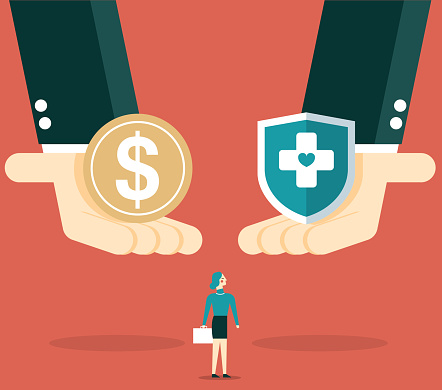 Health care costs or medical insurance, Medical box with stethoscope and stack of money on the scale stock illustration