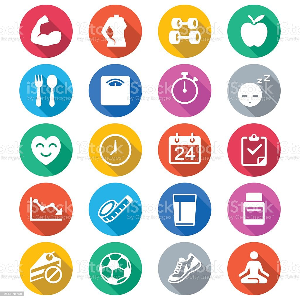 Health care flat color icons vector art illustration