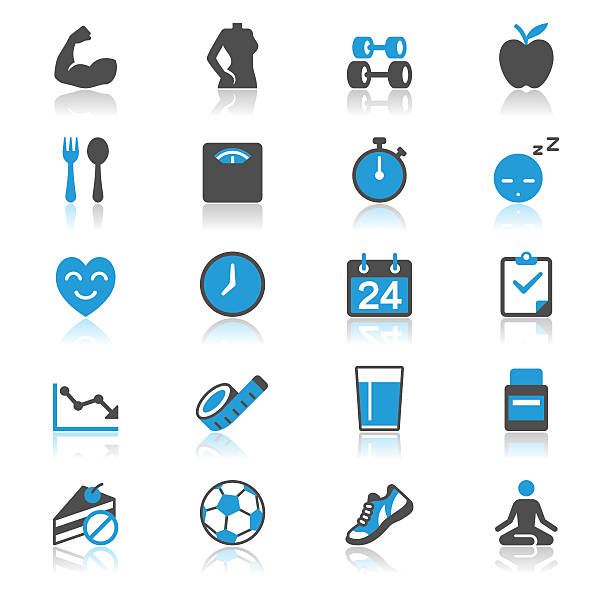 health care flat with reflection icons - workout calendar stock illustrations, clip art, cartoons, & icons