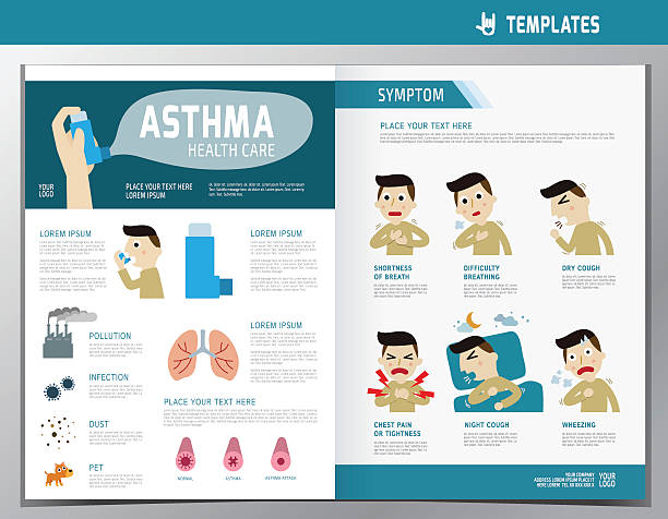 Royalty free respiratory tract clip art vector images for Asthma brochure template