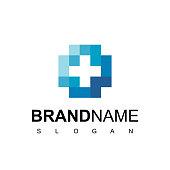 istock Health Care, Hospital Logo With Cross Symbol 1209555570