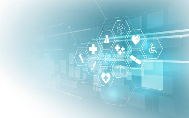 헬스케어 아이콘 패턴 의료 혁신 개념 배경 디자인 - 건강관리와 의술 stock illustrations