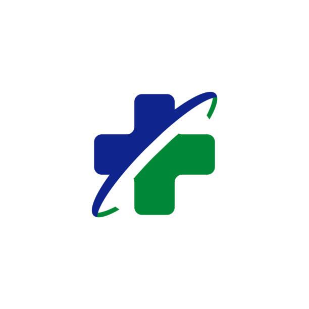 ilustraciones, imágenes clip art, dibujos animados e iconos de stock de icono de cuidado de la salud con símbolo cruzado - logos de médico