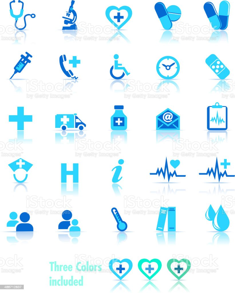 Health Care Icons - 3 Colors vector art illustration