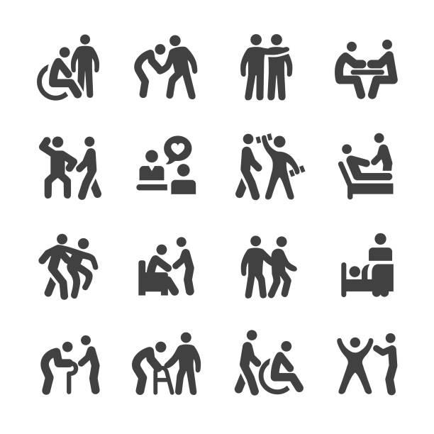 health care icons - acme series - проживание с уходом stock illustrations