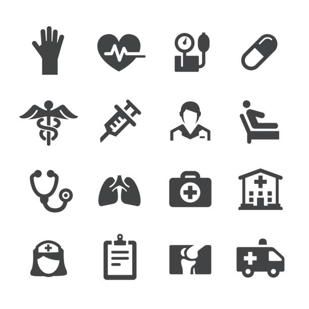 health care icons - acme series - nurse stock illustrations, clip art, cartoons, & icons