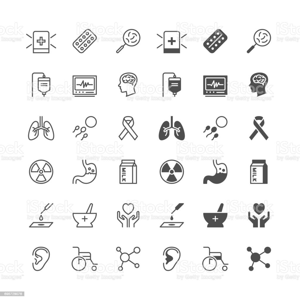 Health care icons, included normal and enable state. vector art illustration