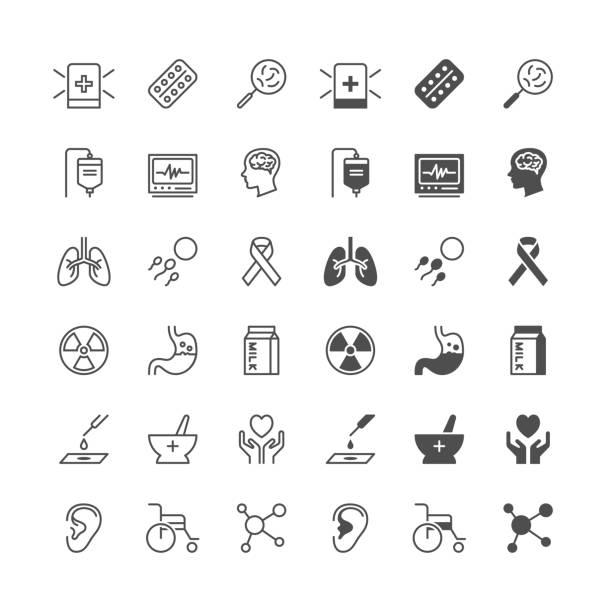 Health care Symbole enthalten normale und Staat zu ermöglichen. – Vektorgrafik