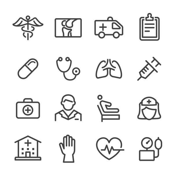 illustrazioni stock, clip art, cartoni animati e icone di tendenza di health care icons - line series - scheda clinica
