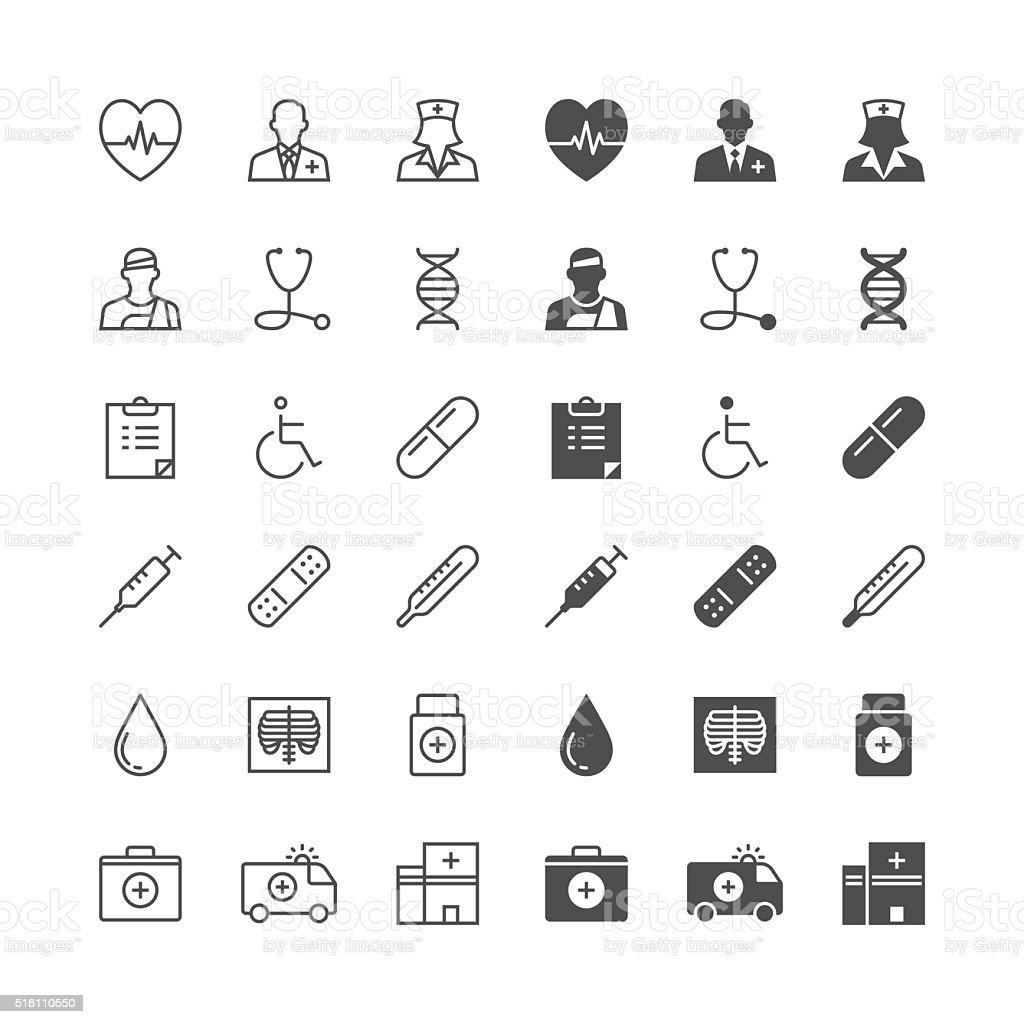Health care icons vector art illustration