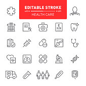 Health care, hospital, medicine, editable stroke, outline, icon, icon set, doctor, ambulance, medical exam