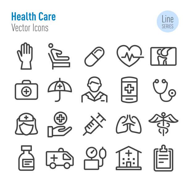 illustrazioni stock, clip art, cartoni animati e icone di tendenza di health care icons - vector line series - scheda clinica