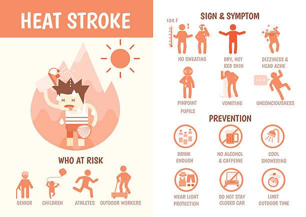 stockillustraties, clipart, cartoons en iconen met health care infographics about heat stroke - vermoeidheid