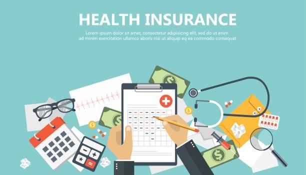 health care insurance concept. man fills in the form of health insurance. flat vector illustration - dollar bill stock illustrations