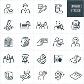 A set of health insurance icons that include editable strokes or outlines using the EPS vector file. The icons include a doctor, nurse, medical check-up, prescription medication, checkbox, insurance form, family of four, online doctor search, online prescription, hospital, insurance card, prescription card, medical team, hour glass, healthcare costs up, healthcare costs down, calendar appointment, patient in hospital bed, security shield, person falling, rehabilitation and a calculator to name a few.