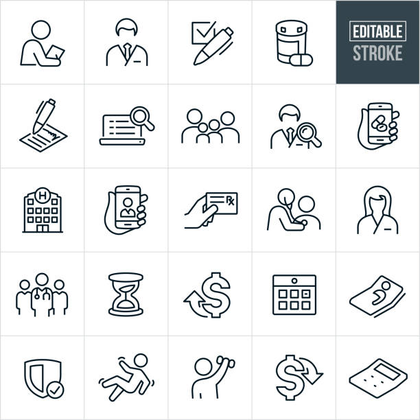 Health Care Insurance Thin Line Icons - Editable Stroke A set of health insurance icons that include editable strokes or outlines using the EPS vector file. The icons include a doctor, nurse, medical check-up, prescription medication, checkbox, insurance form, family of four, online doctor search, online prescription, hospital, insurance card, prescription card, medical team, hour glass, healthcare costs up, healthcare costs down, calendar appointment, patient in hospital bed, security shield, person falling, rehabilitation and a calculator to name a few. expense stock illustrations