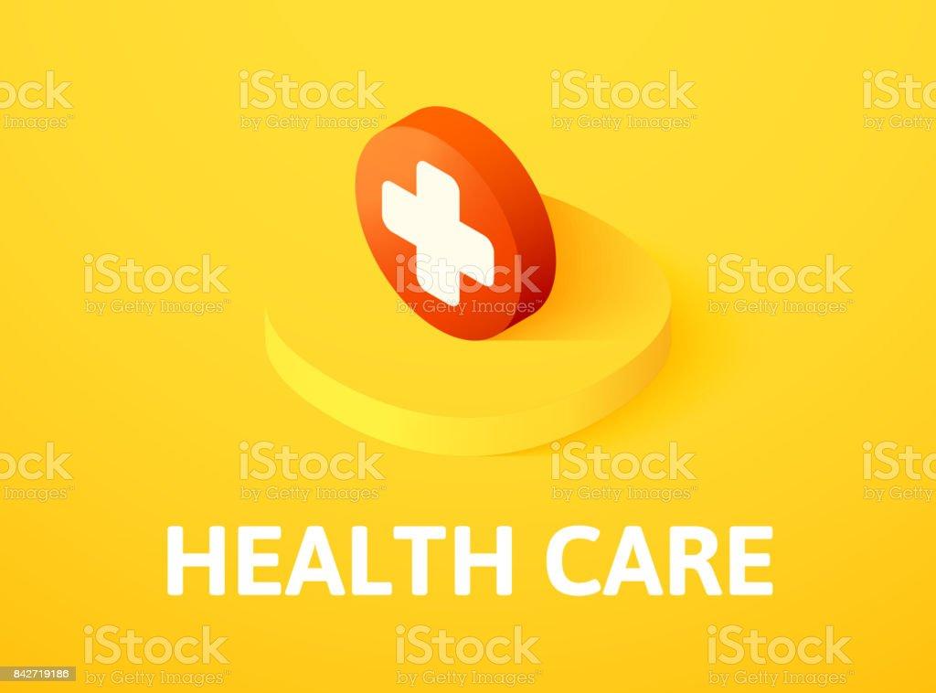 Gezondheidszorg isometrische pictogram, geïsoleerd op een achtergrond met kleurvectorkunst illustratie