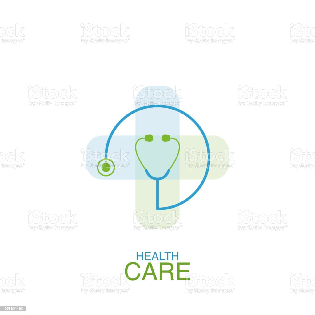 Health care logo vector design element with phonendoscope icon vector art illustration