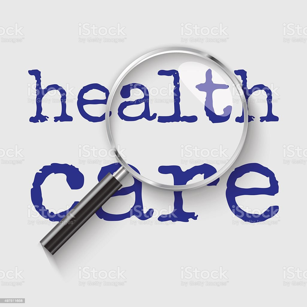 Health Care Magnifying glass concept illustration vector art illustration