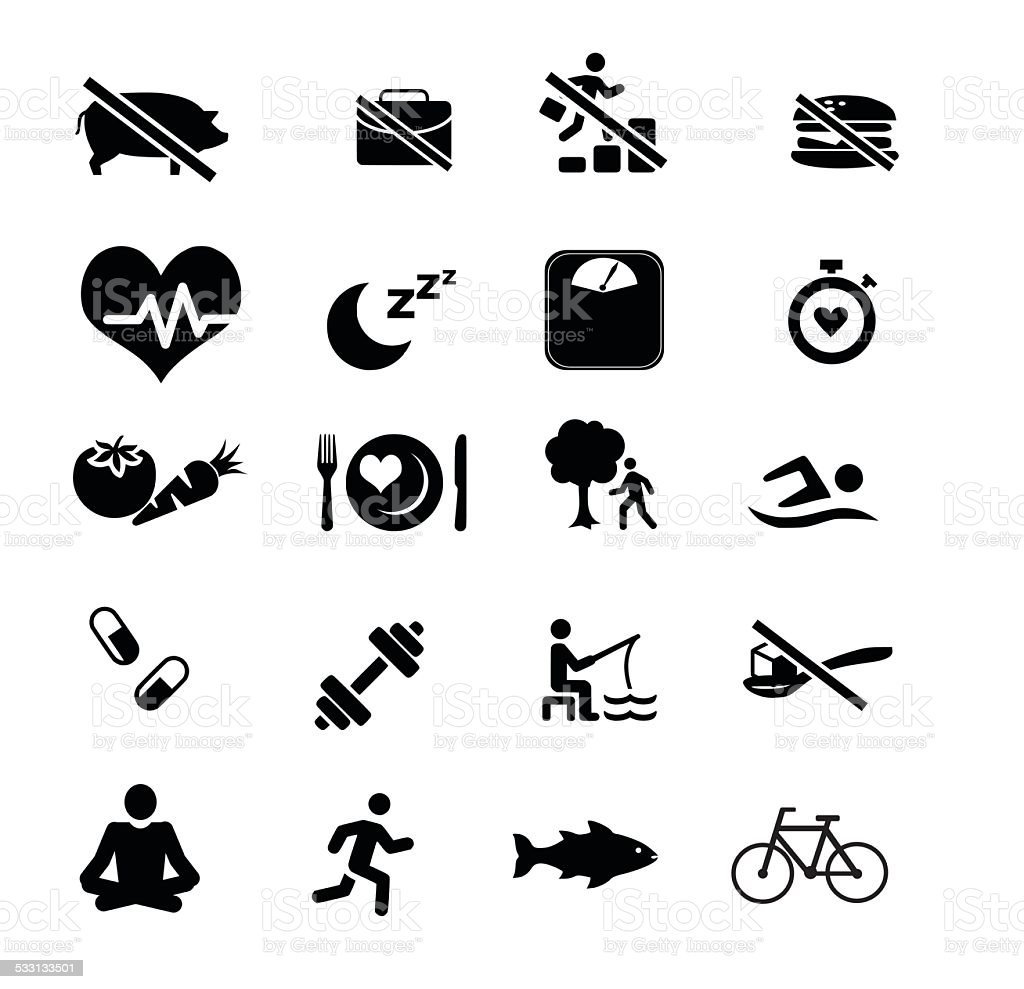 Health care, Medical Fitness icon set for healthy heart vector art illustration