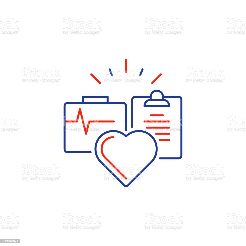 Health Care Services Thin Line Icon Medical Insurance Logo Heart
