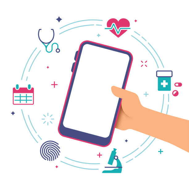 bildbanksillustrationer, clip art samt tecknat material och ikoner med hälso vård smart telefon - medicinsk journal