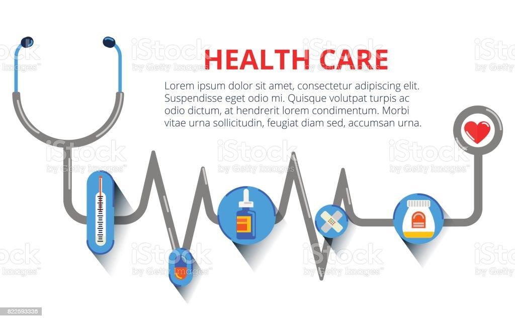 Gesundheitswesen, Stethoskop, EKG, Gesundheitsüberwachung, Konzepte gesetzt. Moderne flache Design-Konzepte für Web-Banner, Webseiten, Drucksachen, Infografik. Kreative Vektor-illustration – Vektorgrafik